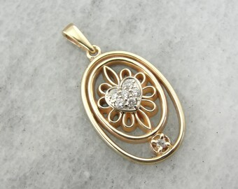 Filigree Flower and Diamond Heart Center Pendant UD7R2A-P