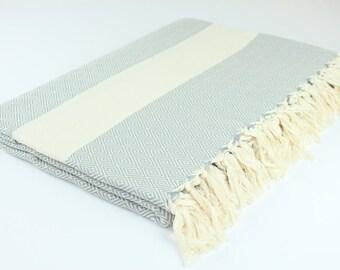 Large Turkish Blanket, Picnic Blanket,Towel Blanket, Gray, Diamond, Beach Blanket Towel