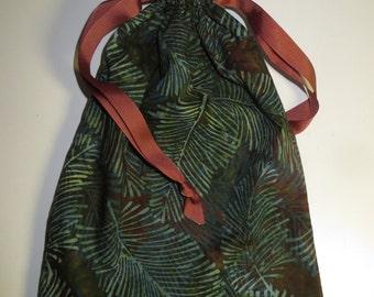 Batik Leaf Print Lined Drawstring Fabric Bag IPAD size