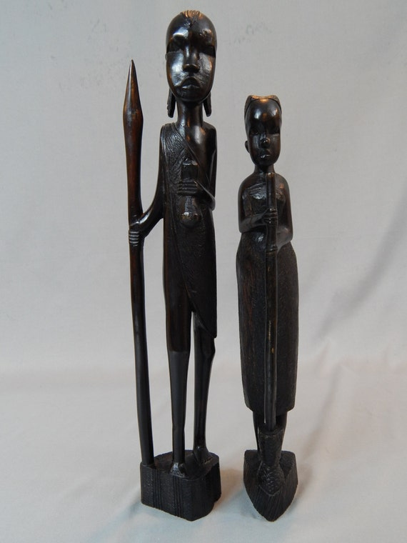 Large And Stunning Pair Of Tribal Primitive Wood Carvings From