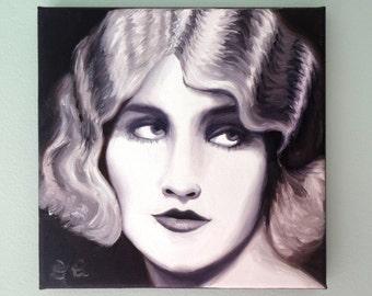 Vintage fashion portrait of woman fingerwaves ziegfeld art fashion illustration beautiful face original art oil painting 1920s flapper art