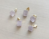 1 pcs of Natural Rose Quartz Cube Pendants with Brass Findings - Gemstone Pendants