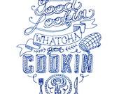 flour sack dish towels - Hey Good Lookin  - Blue