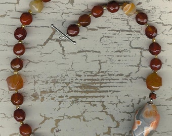 It Was Fascination - Agate, Carnelian, Freshwater Pearls, Sterling Silver Necklace