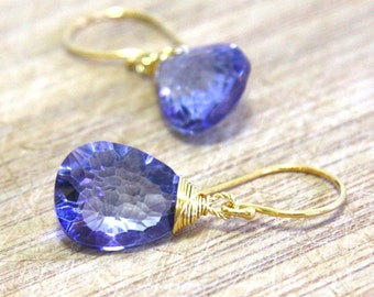 Mystic Periwinkle Tanzanite Gemstone Briolette Drop Earrings in 22K Yellow Gold Vermeil , December Birthstone , Wedding , Bridal