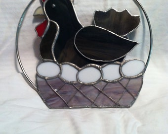 Stained Glass Chicken and Eggs in Basket