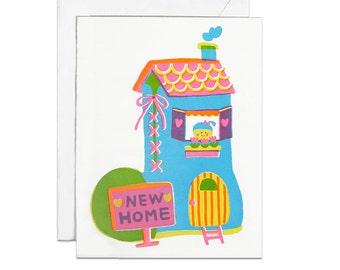 Shoe house screenprinted card