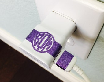 Monogram CHARGER USB WRAP Decal // Monogram Custom Label your Charger Samsung Galaxy Tablet Charger
