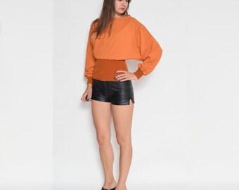 Vintage 80's Batwing Orange Long Sleeve Blouse