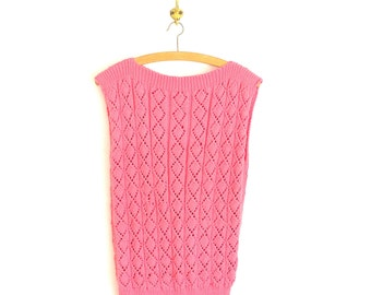 Knit Lace Shell - 60's Pink Sweater Vest - Vintage 1960's Cable Knit Lacy Hand Knit Shell
