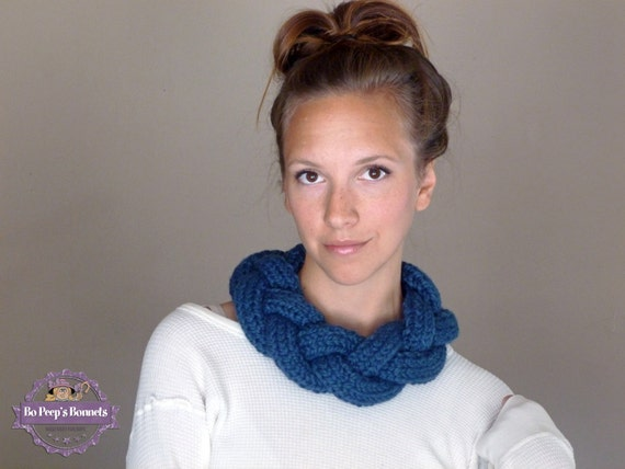 Braided Cowl Knitting Pattern : Knitted Braided Cowl Necklace Infinity Scarf by BoPeepsBonnets
