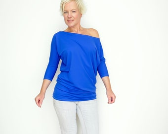 FREE SHIPPING,  Blue asymmetric top - Off shoulder top - Blue oversize shirt