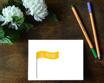 2 Flag Hello Cards - Hello and Hi Friend Printables