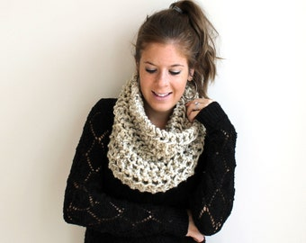 50% OFF Knit Scarf Chunky Cowl Oatmeal- The Ellicott Cowl