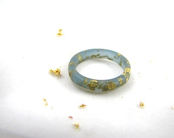 Cerulean Stacking Resin Rings with Gold Flakes