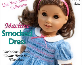 Pixie Faire Originals By Gaby Smocked Dress Doll Clothes Pattern for 18 inch American Girl Dolls - PDF