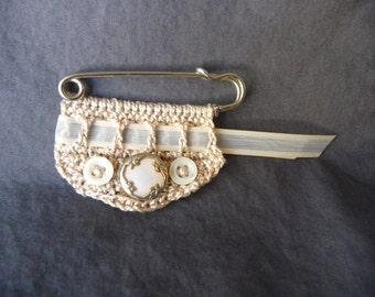 Cream Colored Fiber Art Brooch with Vintage Buttons, Vintage Ribbon, and Kilt Pin - Romantic Pin- Cream Broach