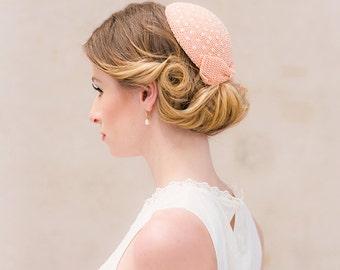 Pillbox bow sequin embroidery crochet bridal fascinator