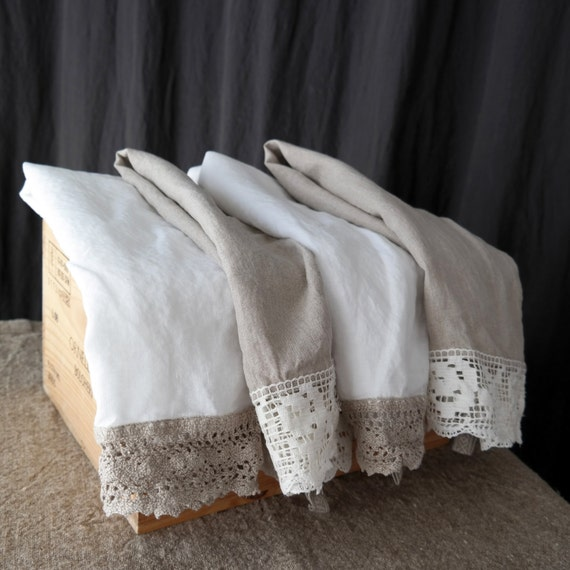 Linen Tea Towel Set Of 4 Kitchen Towels Rustic Country Style