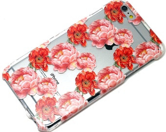 Red Pink Peony Floral Pattern Style Phone Case iPhone 6, SE, 6 Plus, 6S, 5, 5C, 5S, Galaxy S6, S7, Note 4, Note 5