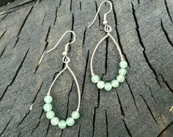 Genuine aventurine wire wrapped teardrop hoop earrings