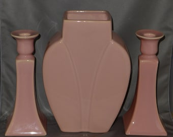 Mauve Vase and Candlesticks Set