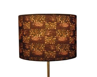 SALE, African Jungle Safari Lamp shade, LAST 1 LEFT, 30cm drum Lamp shade, Tribal Safari Lampshade, Man Cave Tribal Decor, Detola and Geek