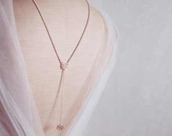 Shoulder Jewelry, Back Chain Necklace, Backdrop Necklace, Back Drop Necklace, Bridal Necklace, Y Necklace