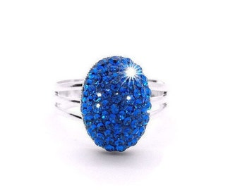 Blue Swarovski Crystal Stone Ring, Capri Blue Swarovski Crystal Statement Ring, Blue Crystal Jewelry