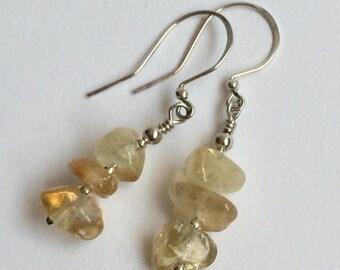 Citrine Gemstone Chips and Sterling Silver Handmade Drop Earrings