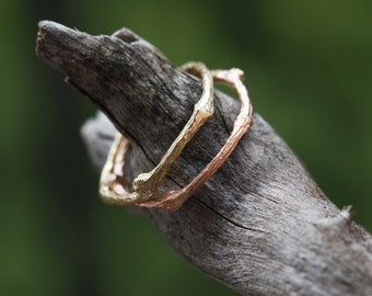 Gold Twig Ring, Twig Ring in 9K or 18K Rose Gold, Yellow Gold, Solid Gold Twig Ring, Twig Wedding Band, Branch Ring