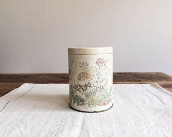 Vintage Spring Flower Tin Box, Vintage Kitchen Storage, Vintage Home Decor