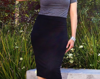 Black Long Midi Skirt / Pencil Skirt / Plus Size Pencil Skirt / Tight Midi Skirt / Tube Skirt / Petite Skirt / High Waist Skirt /Tall Skirt