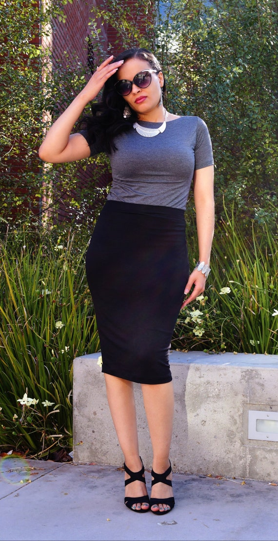 Black Long Midi Skirt / Pencil Skirt / Plus Size Pencil Skirt