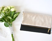 Black Evening Bag, Black Wedding Clutch, Black Bridesmaid Clutch, Bridesmaid Gift, Black gold Bridal Purse ,Black Leather Foldover Clutch