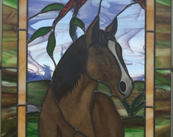 Horse Stained Glass Panel
