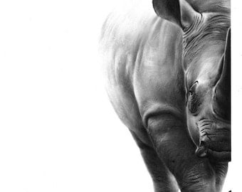 BLACK RHINO PAINTING - rhinoceros painting, wildlife decor, african animal art, rhino decor, wildlife art, original painting, rhino artwork