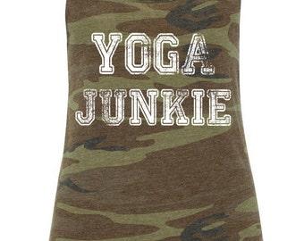 Yoga Junkie Yoga Tank, Yoga Shirt, Yoga Top, Eco Flowy Racerback Tank Sizes S-XL