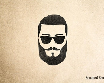Bearded Man with Shades Rubber Stamp - 2 x 2 inches