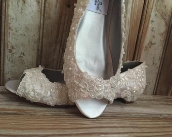 All Lace Hand Beaded Pearl Sequin Flat Heel Lace Peep Toe Covered Bridal Shoe Wedding Shoe