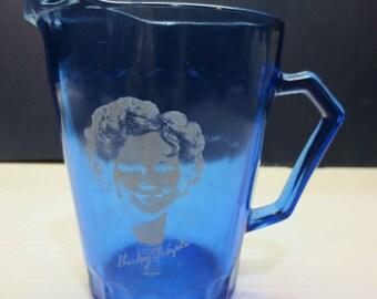 Vintage Shirley Temple Cobalt Blue Glass Pitcher Creamer