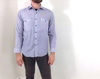 Vintage Light Blue Button-Down Men's Dress Shirt