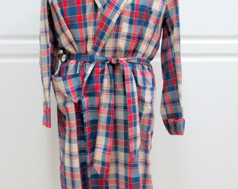1950-60's Smoking Robe, Men's Lounging Robe, Men's nightwear, Mens Plaid Robe, Mid Century robe, MadMen robe, Playboy Robe, Luxor Press Robe