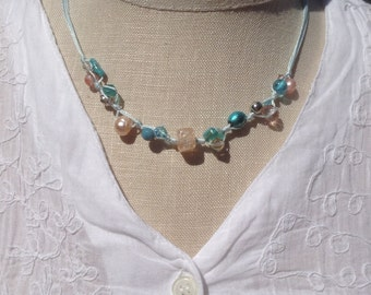 Silk Bead Necklace Teal Blue Peach Pink