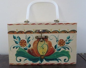 Cute Vintage Wooden Retro Novelty Floral Basket Bag / Purse / Large / Picnic
