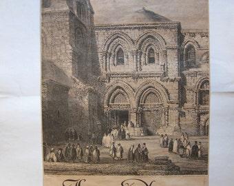 vintage Jerusalem gravure, church of the holy Sepulchre, Turnowsky, Tel Aviv