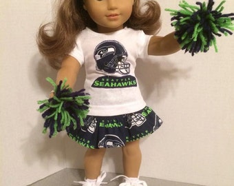 American Made 18 inch doll Clothes - Seattle Seahawks Cheerleader Outfit