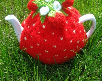 Strawberry Knitted Tea Cosy, tea cosy, tea cozy, teapot cover, house-warming gift, gift for her, kitchen accessory, novelty tea cosy