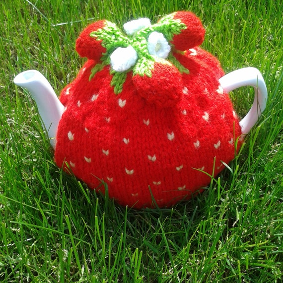 Knitting Pattern For Strawberry Tea Cosy : Strawberry Knitted Tea Cosy tea cosy tea cozy teapot cover