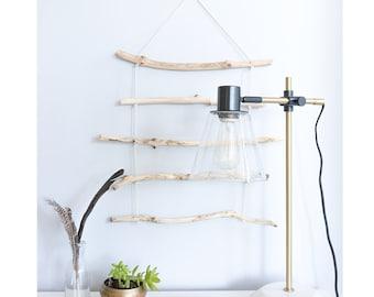 Wooden Wall Hanging Natural Wood Waxed Cotton Rope Modern Wall Art Cedar Wood Minimalist Boho Bohemian Rustic Loft Style Unique Gift Idea